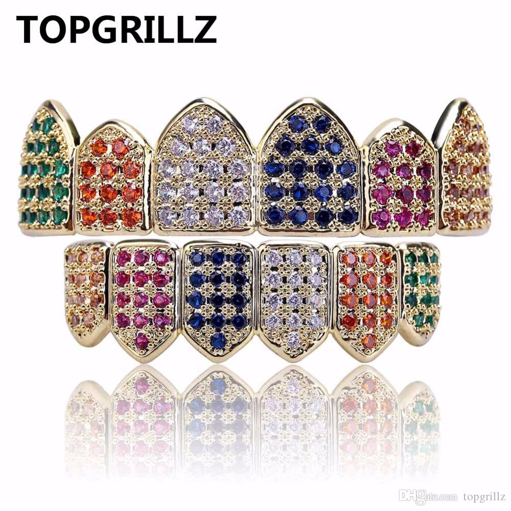 Parrillas de Hip Hop TOPGRILLZ Gold / Silver Color Grillz Multi Color Micro Pavimenta CZ Bling Cubic Zircon Top Bottom Teeth Grillzs