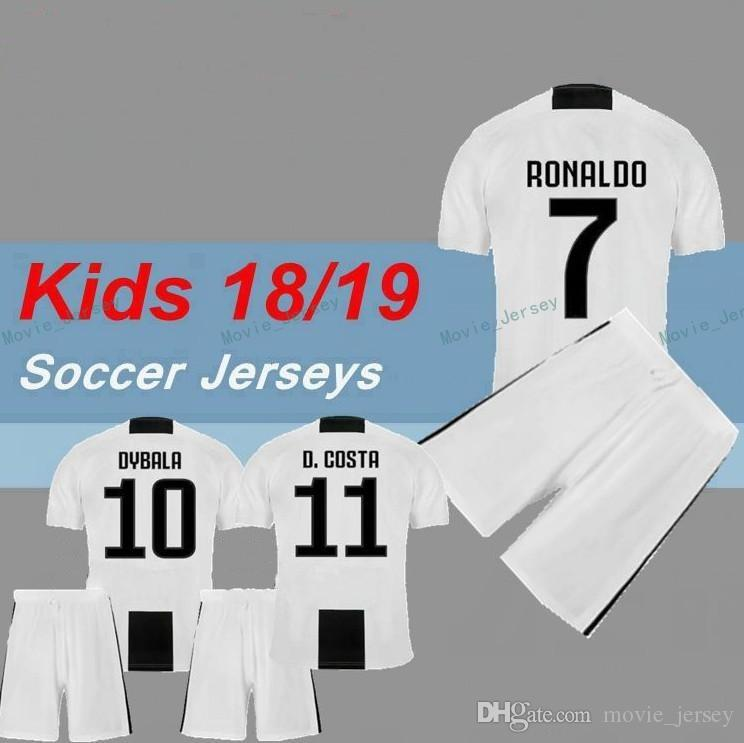 uk availability 17dea 5e787 kids Kit juventus soccer Jersey 2018/19 RONALDO DYBALA HIGUAIN DANI ALVES  PJANIC Marchisio child 2018 2019 soccer Shirt uniforms