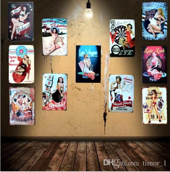 Satın Al Sihirli Kız Oyun Kartı Kalay Işaretleri Metal Boyama Duvar