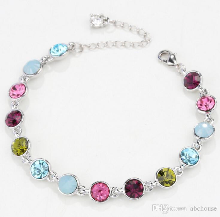 Silver plated Starlight crystal bracelet female crystal bracelet fashion jewelry super flash birthstone Bracelets floating Star Bracelet