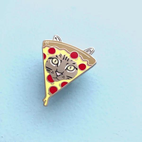 Custom Gold Plated Hard Enamel Pizza Cat Lapel Pin Jacket/Shooes Pin