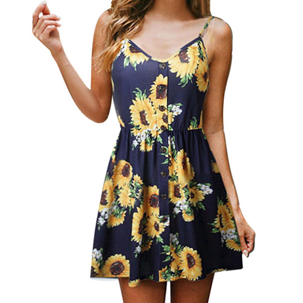 b2eea13724a Women Sexy Sling Sleeveless V Neck Sunflower Print Summer Dress Bohemian  Style Ladies Button Princess Dresses Vestidos De Festa Women Long Dress  Floral ...