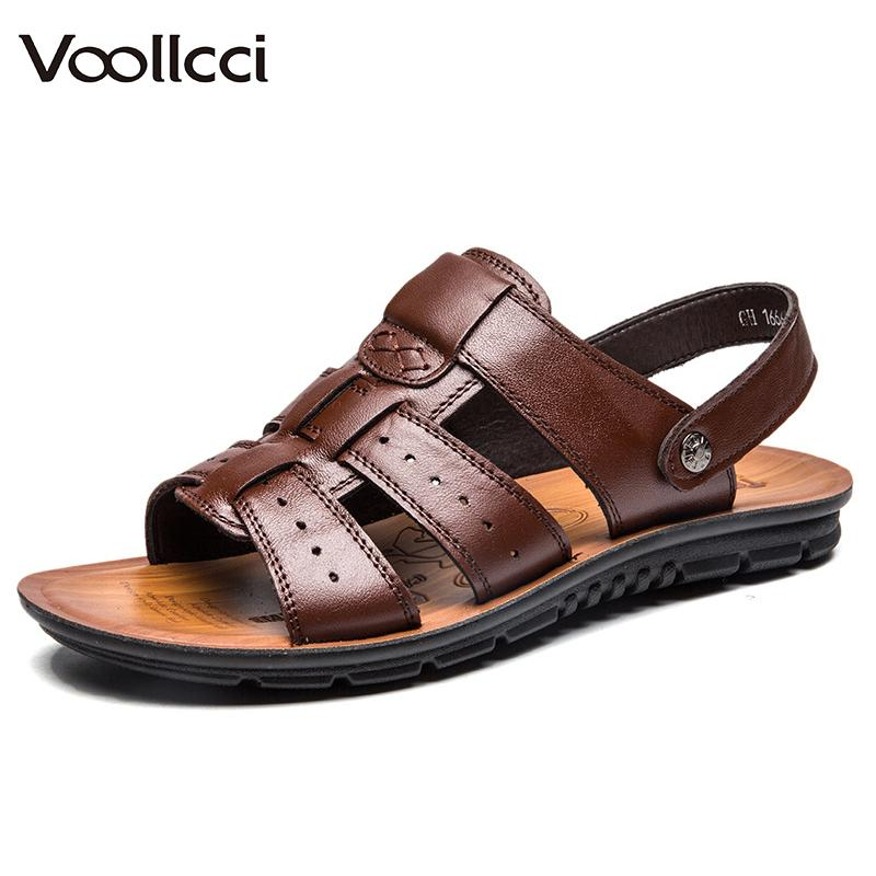 ef333df13e7e Voollcci Men S Summer Shoes Breathable Leather Sandals Man Soft Durable  Summer Shoes Anti Slip Multi Function Beach Slippers Girls Sandals White  Sandals ...