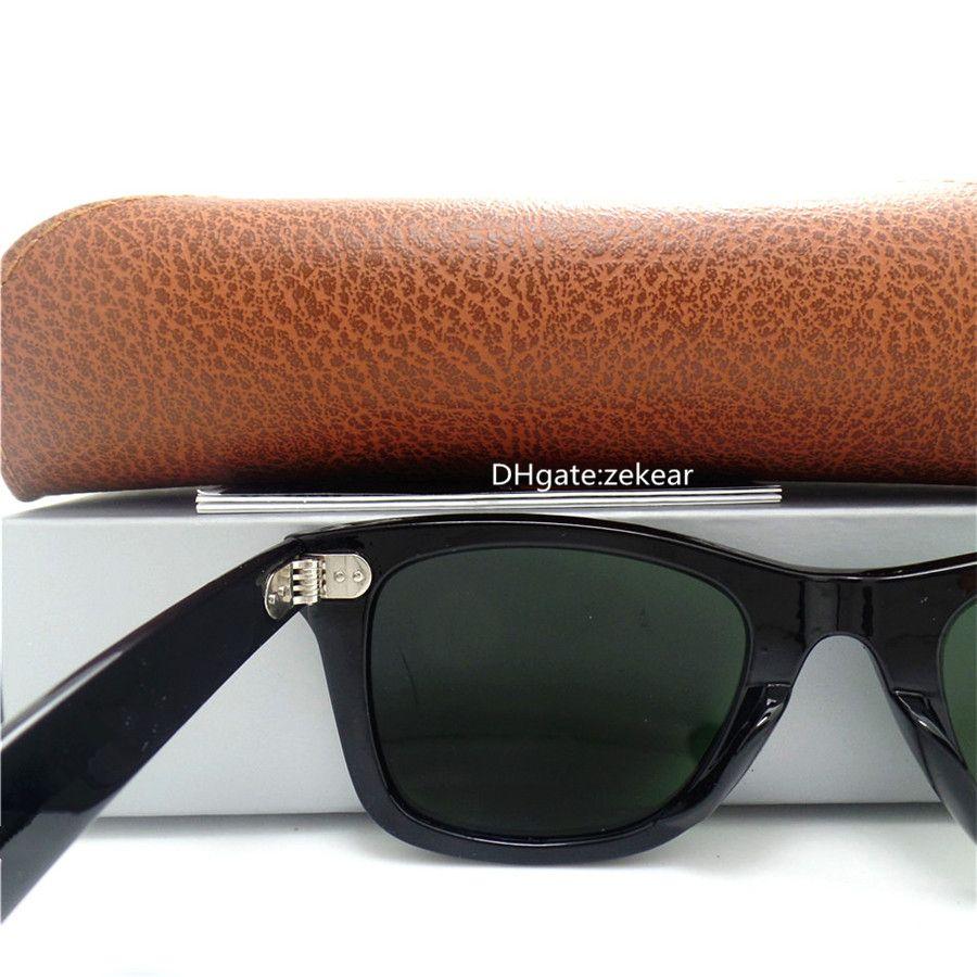 Top level Glass Lens Men Women Sunglasses UV400 Brand Eyewear Metal Hinge 52MM Side Beach Vintage Eyeglass With Box Case Beach