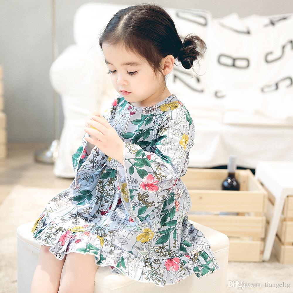 2019 6M 3T Baby Dovetail Dress Flower Printed Flare Sleeve Lotus Chiffon  Ruffle Long Sleeve Infant Toddler Girls Spring Summer Autumn Skirts From  Tiangeltg 0cc0bf3a4