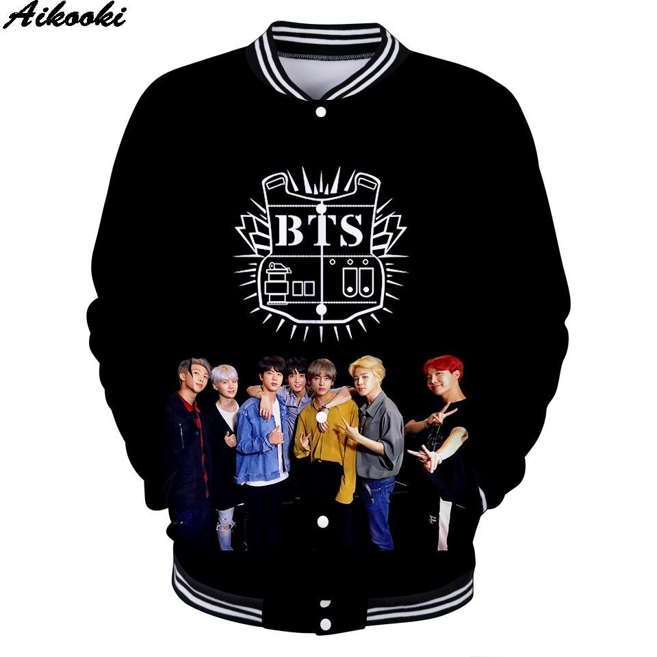 Compre Aikooki Fashion 3D Print BTS Chaqueta De Béisbol Hombre   Mujer  Abrigos BTS 3D Chaquetas Sudadera Harajuku Chaqueta Hombre K Pop A  24.99  Del Piaose ... ceb3ba1890a