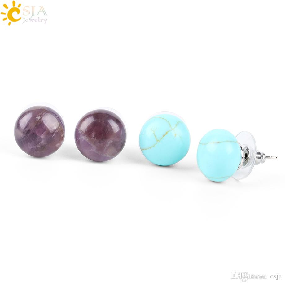CSJA Girl Push Back Stud Earring Round Bean Natural Gem Stone Beads Rose Quartz Amethyst for Women Girls Fashion Summer Jewelry E109