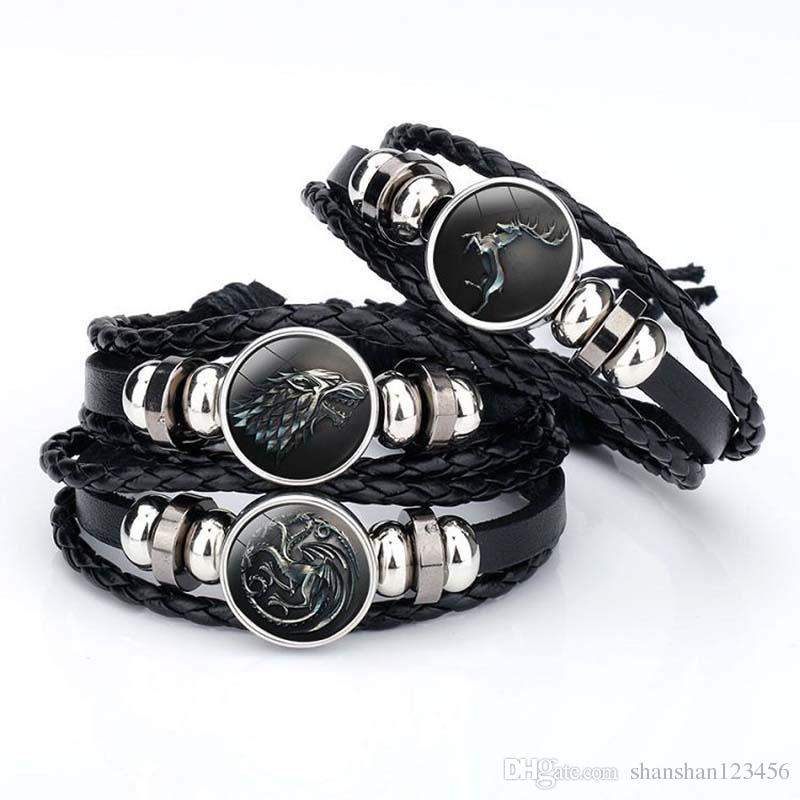 2018 wolf head Game of Thrones A Song of Ice and Fire Logo Leather Bracelet Boys Glass Cabochon Bracelet movie jewelry drop shipping 320048