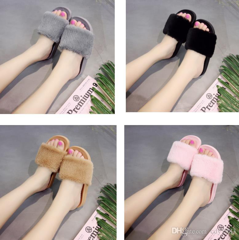 Plush slippers autumn and winter seasons home flat non-slip indoor and outdoor wear flip flops plush slippers