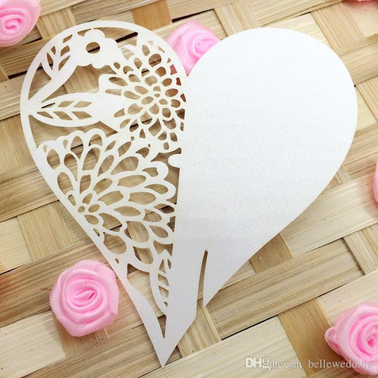 Laser Cut Name Cards With Hearts Flowers Paper Cutting Seating Cards