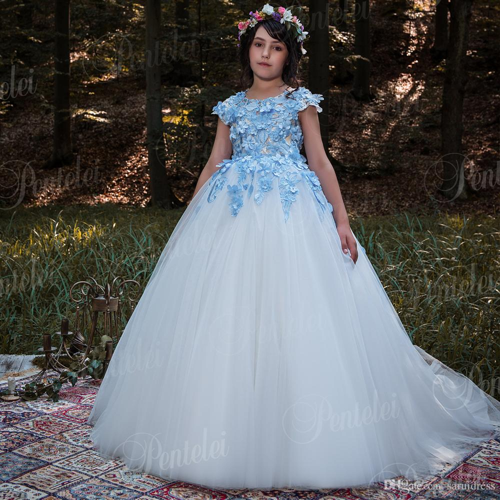 Blue And White Flower Girl Dresses New Coming Floor Length Fashion
