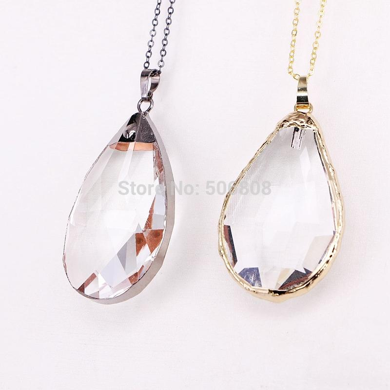 80d5f598ba 5PCS ZYZ184-8991 Fashion jewelry white crystal necklace pendant Natural  stone water drop shape pendant for women jewelry