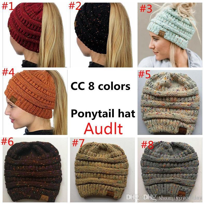 2dc853643410 Acheter Chapeau D hiver Cc Ponytail Bonnet Chapeau Femmes Skullies ...