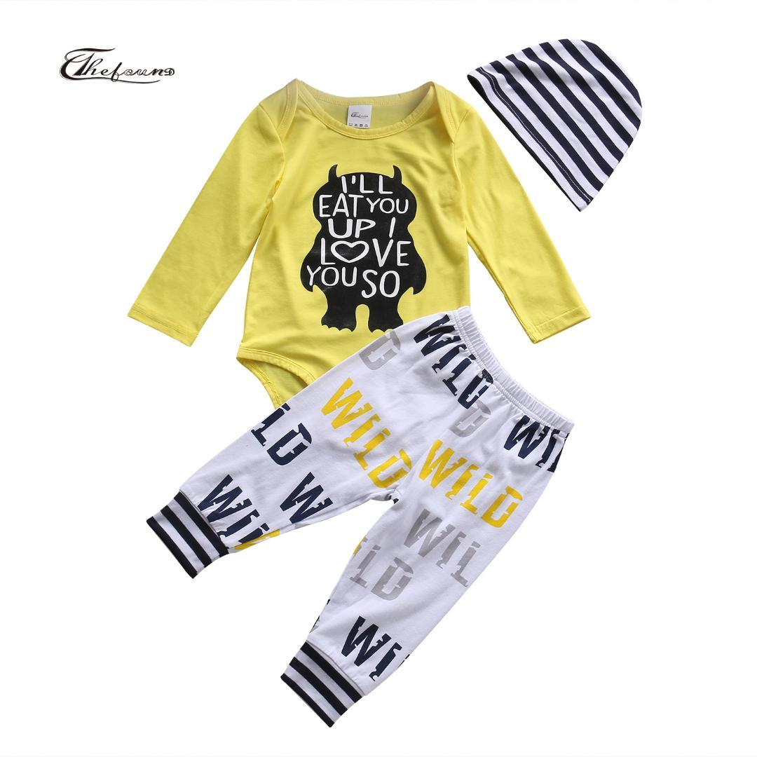 5dbba923b 2019 Hot Fancy Yellow Letter Monster Newborn Baby Boys Clothes Set ...