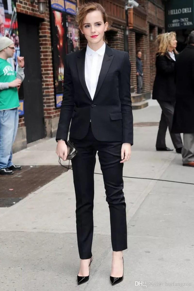 2018 Frühling Emma Watson Schwarze Frauen Anzüge Nach Maß Formelle Geschäftskleidung Sexy Hosenanzug Büro Uniformen