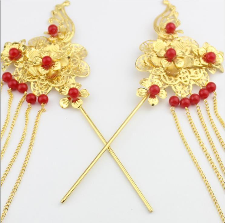 Bride Costume headdress hairpin tassel red step shake classical accessories
