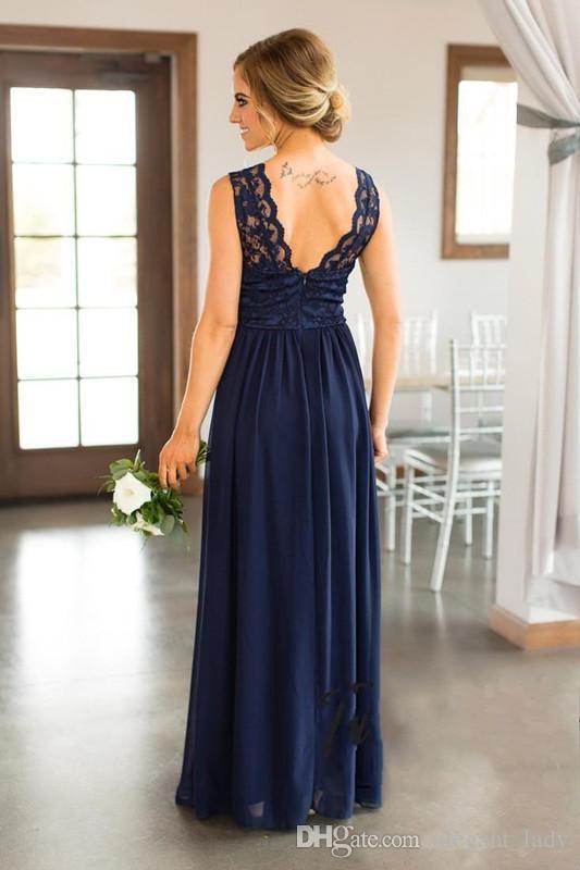 신부 들러리 드레스 싼 나라 결혼식 해군 파란색 보석 목 레이스 아플리케 바닥 길이 플러스 크기 정식 하녀 명예 가운