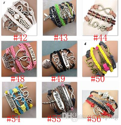 213ff83e0dfbd Hot sale Infinity Bracelets Mix 78 style Lots Fashion Jewelry Wholesale  Leather Infinity Charm Bracelet Vintage Accessories Lover Gifts