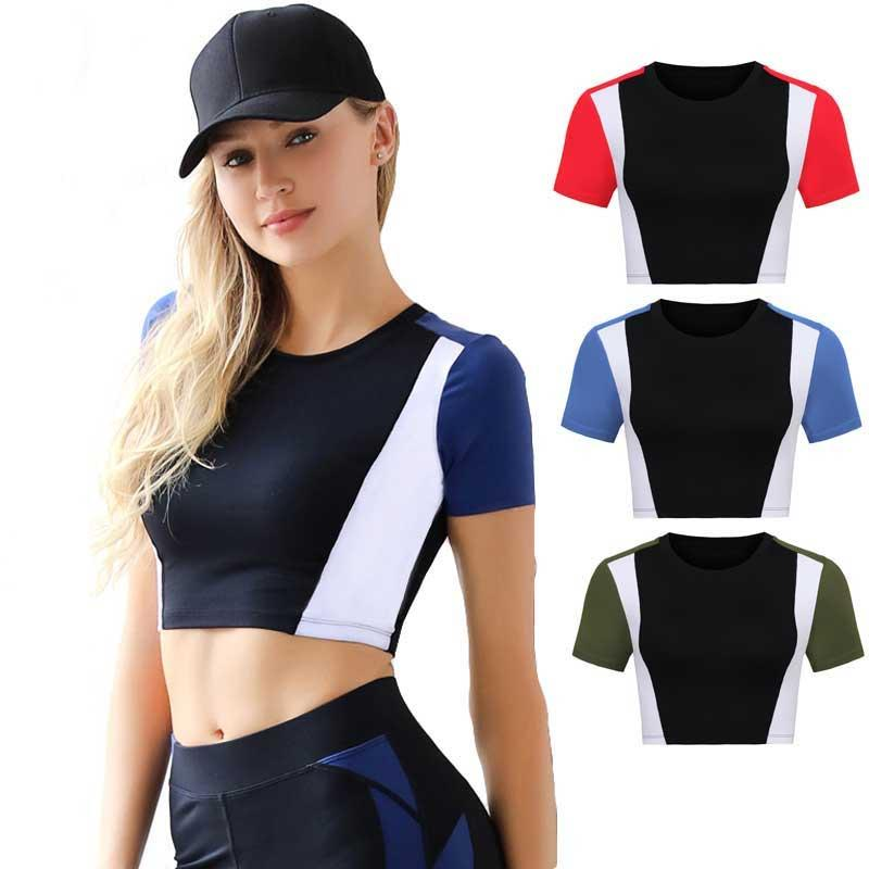 ec798209 Female Quick Dry Short Sleeve Tee Hoody Gym Fitness Women Compress Workout  Clothing Women's Sport T Shirt Running Yoga Top WA42