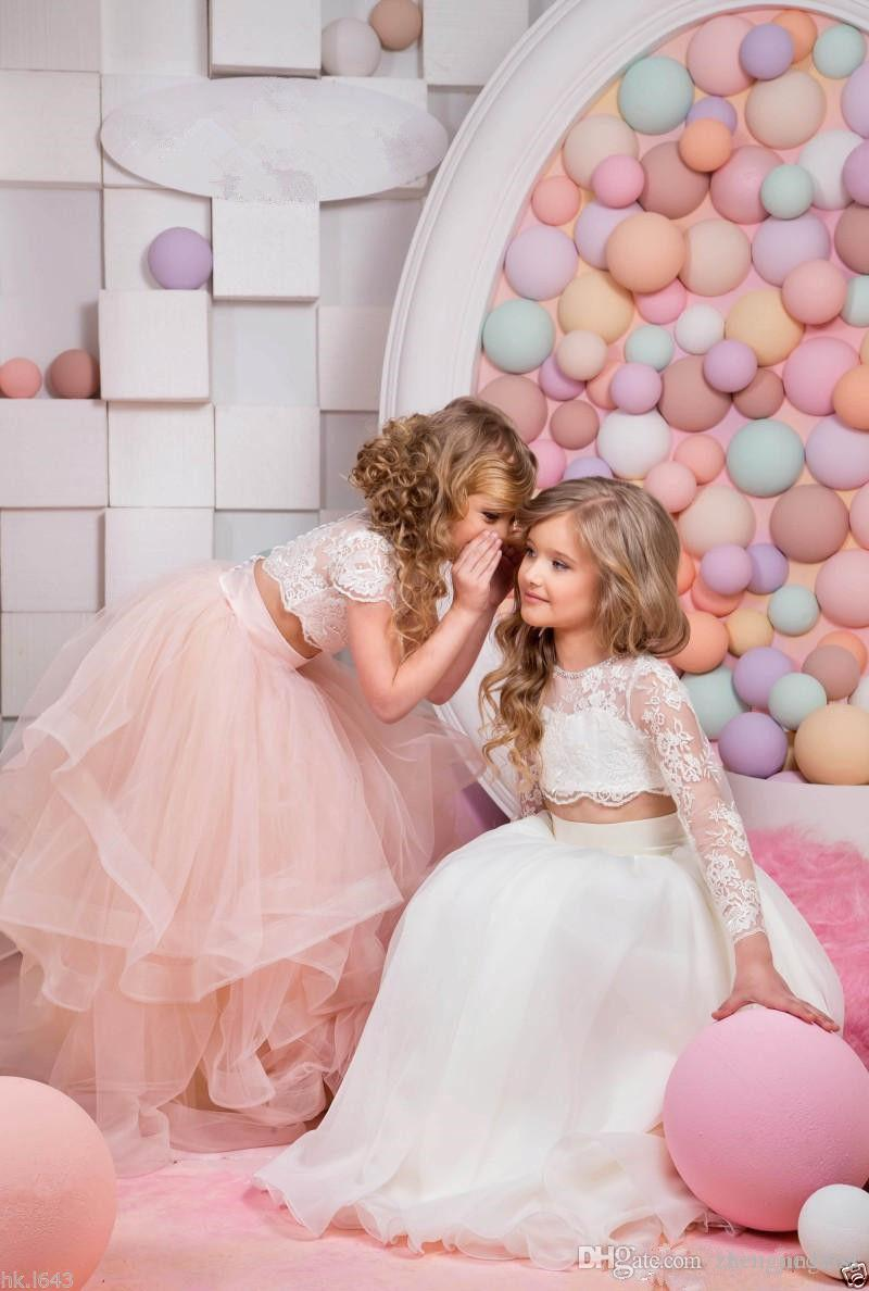 2019 Hot Sale Sweet Kids Lace Flower Girl Dress Short Sleeve Elegant Cute Princess Floor Length Wedding Beautiful Child Dress