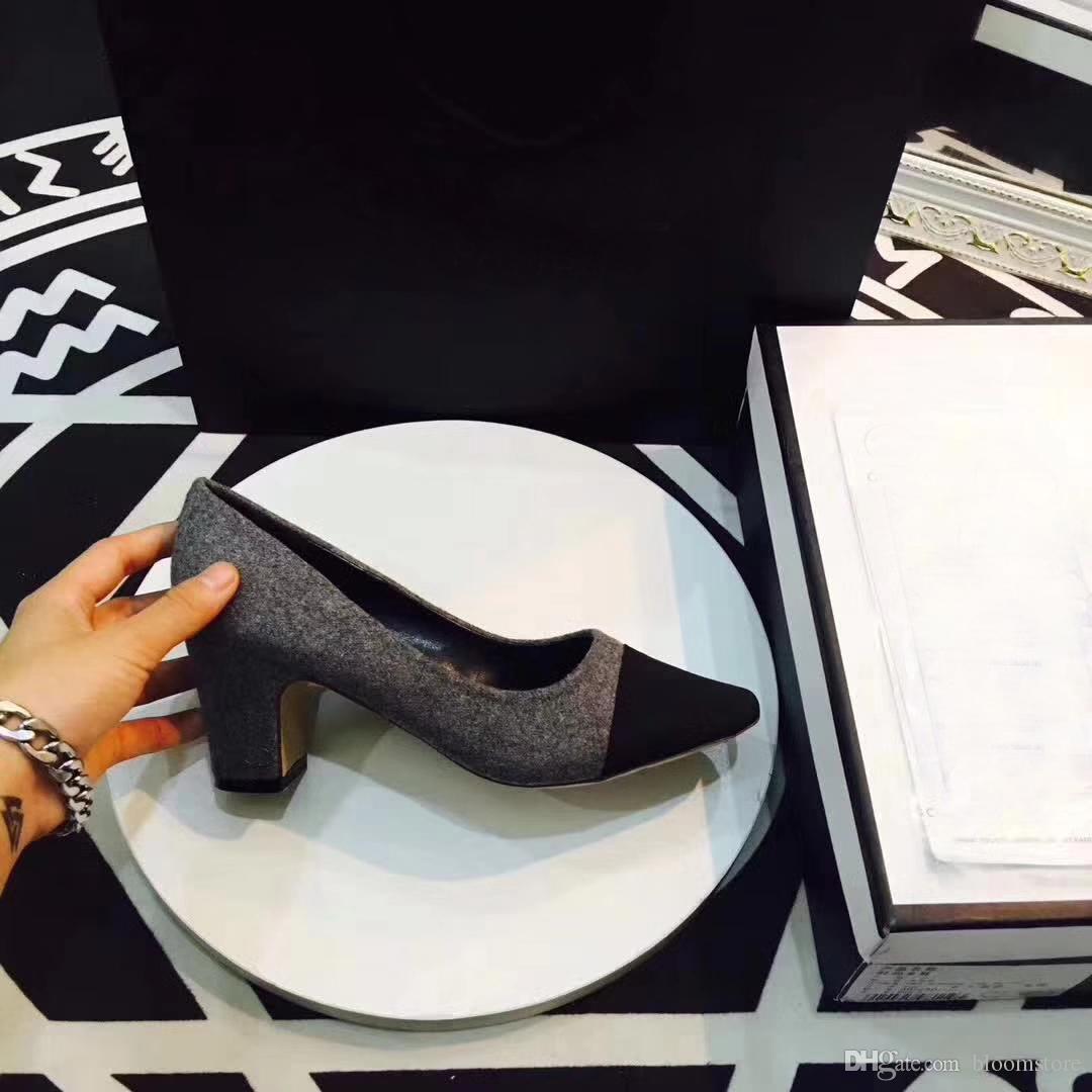 Klasik Kadın Bej Gri Pompaları Deri Arkası Açık Iskarpin Sandalet / Pompalar / Flats Ünlü C Marka Cap Toe Elbise Düğün Ayakkabıları