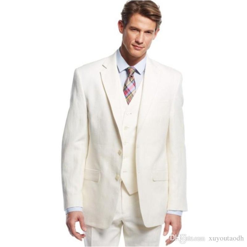 2018 Custom Made Groom Men Suit Tuxedos Notch Lapel Best Men's Suit Slim Fit Casual Cream Wedding Suits For Beach Summer Jacket+Pants+Vest