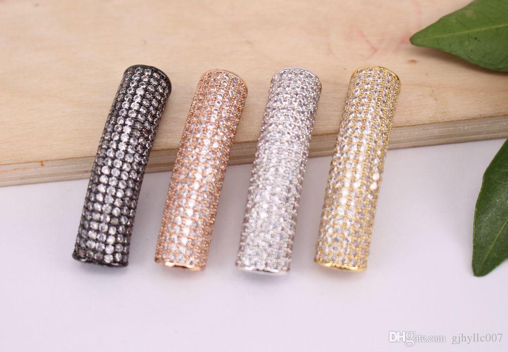 Moda 4 Unids Micro Mix curva Circular forma de tubo de Cobre Metal Blanco CZ / Zircon perlas conector colgante / pulsera / collar, Resultados de la joyería