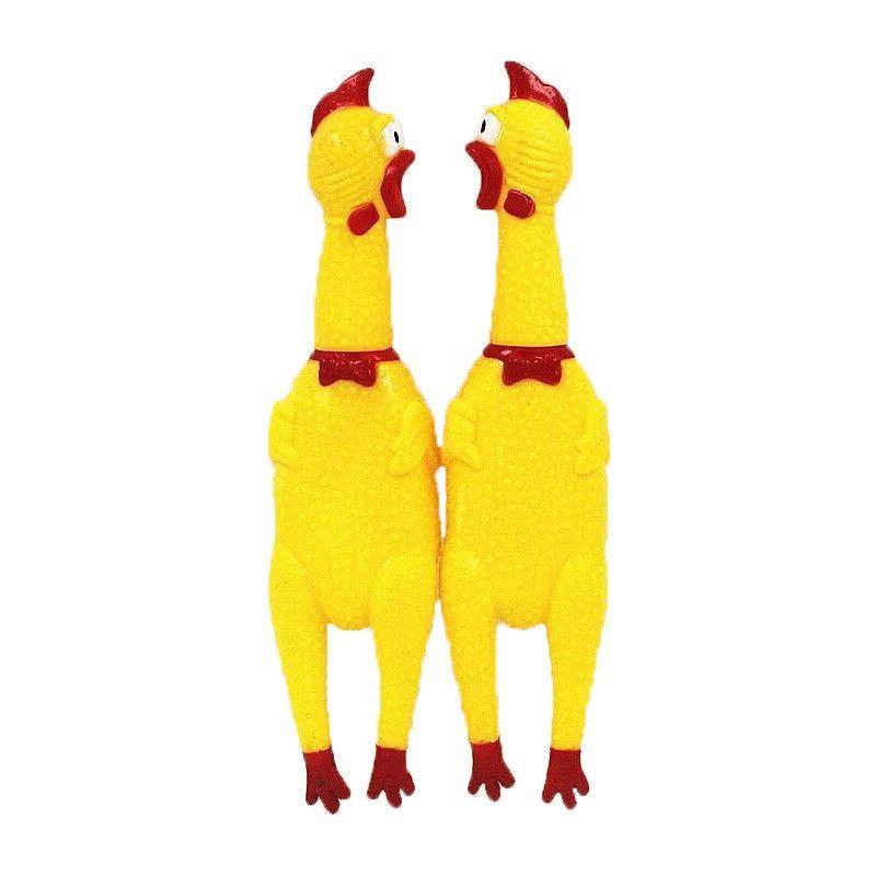 Yellow Squeak Toys Screaming Rubber Chicken Trumpet Halloween New
