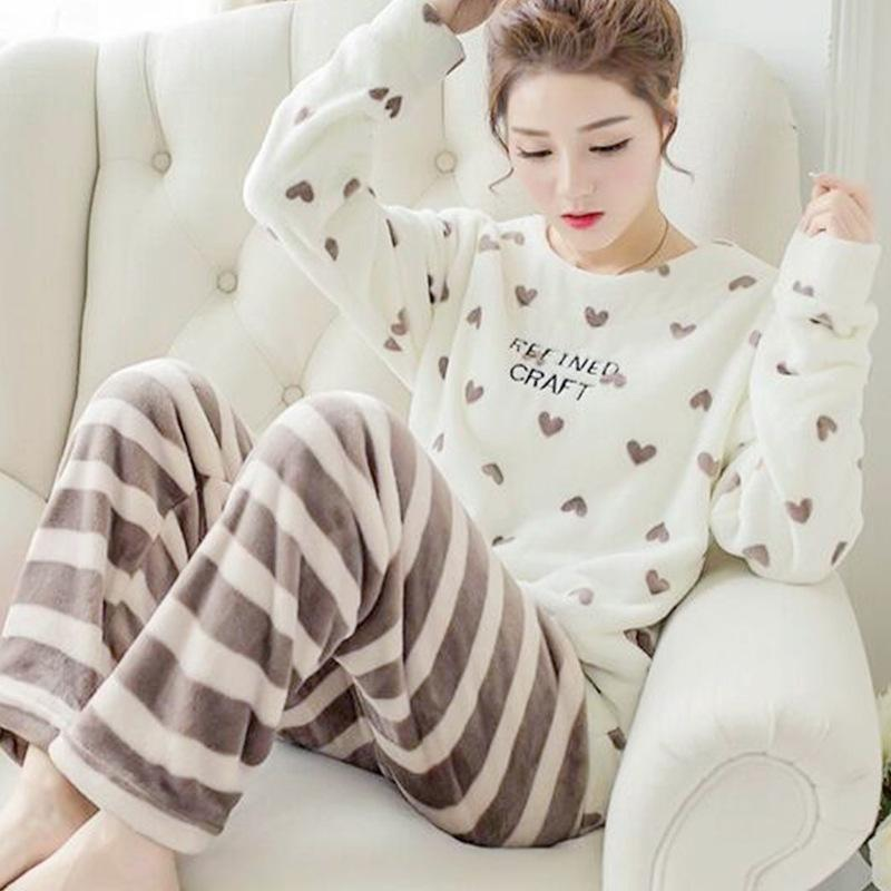 2019 New Winter Female Long Sleeved Flannel Pajamas Suit Cute Coral Fleece  Women Kawaii Printing Thick Woman Costume Sleep Wear Suit From Zhusa 4a43b8cef
