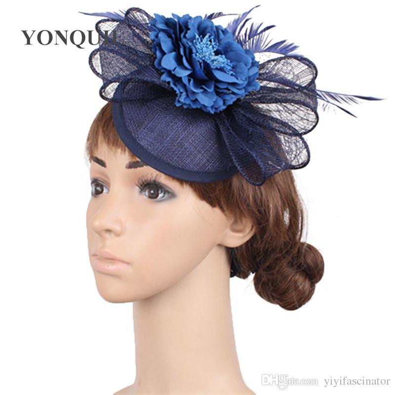 e718280b7cb66 Women Fancy Feather Chic Fascinator Hats Silk Flower Wedding Hats Navy Fascinator  Hair Accessories For Elegant Bridal Woman SYF281 Kentucky Derby Hat Tea ...