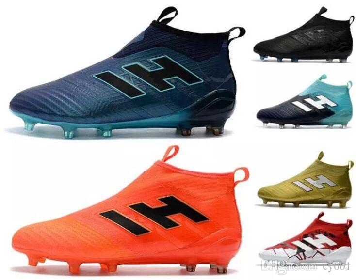 3d2e88498e7 2018 Mens ACE 17+ PureControl FG Soccer Shoes Thunderstorms Series Men Soccer  Cleats Outdoor Fg Football Shoes Boots Online with  56.15 Piece on Cy001 s .