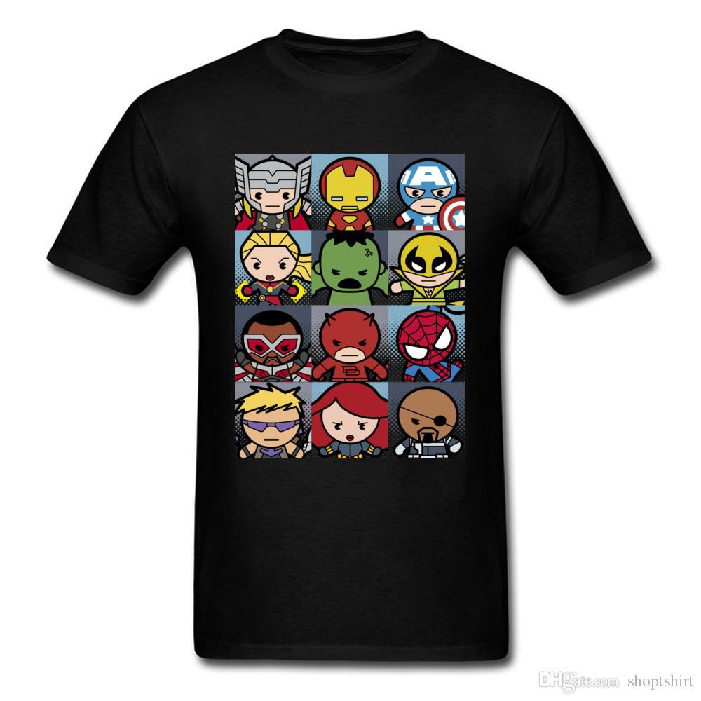 Hommes T Shirt Kawaii Superhero Conception De Grille Tops Tees 100% Coton Col Rond Manches Courtes Casual Tee Shirt Thanksgiving Day