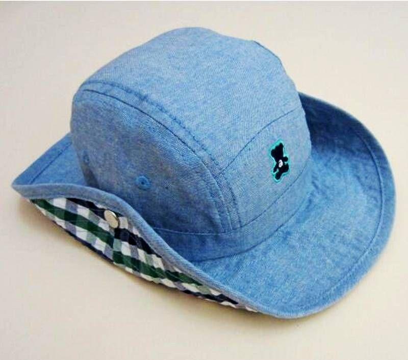 5744e91aa15 Baby Cowboy Hat Kids Blue Jean Sun Helmet Boy Summer Caps With Chin Strap Kids  Bucket Hat Fashion Baby Hat 0 7y UK 2019 From Roohua