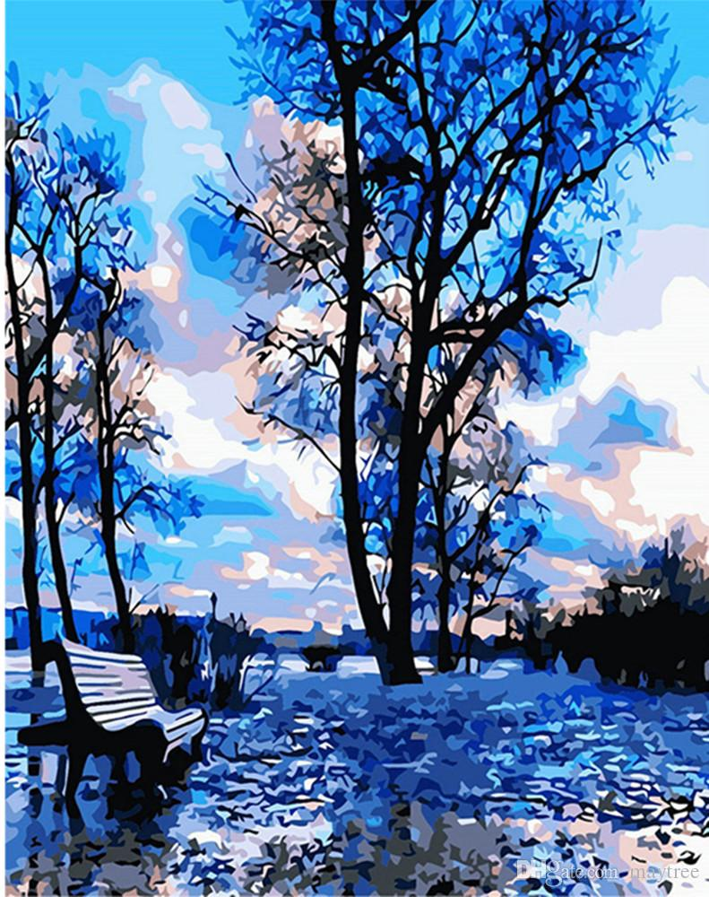 Diy Oil Painting Art Home Wall Decor - Blue Park - 16X20 inches Embroidery Digital Oil Painting By Numbers Christmas Gift