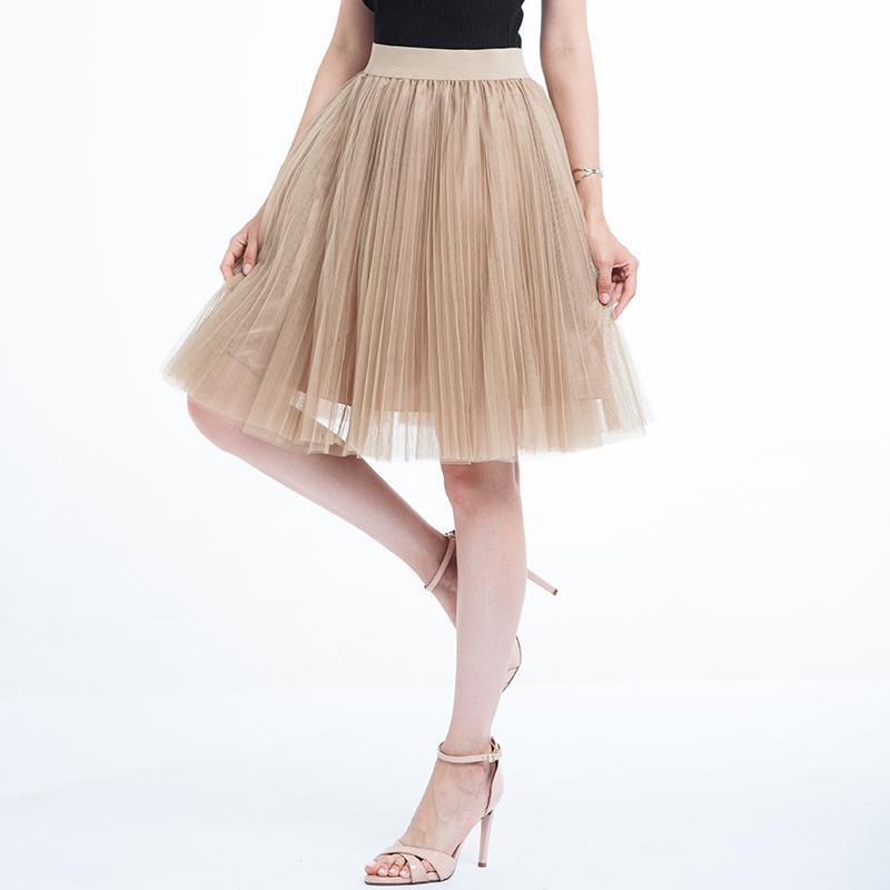 1017af5ac 2018 Faldas de tul para mujer Negro Gris Blanco Adulto Falda de tul  Elástico de cintura alta falda plisada a media pierna