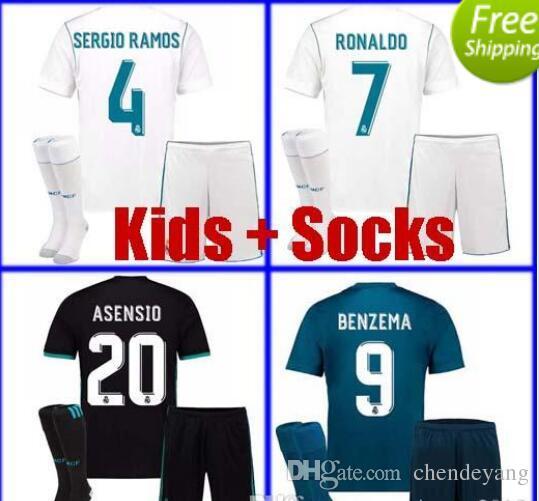 new white kids real madrid soccer jersey 2018 boys youth children ronaldo asensio sergio ramos isco modric kids uniform set with socks 17 18 kids real