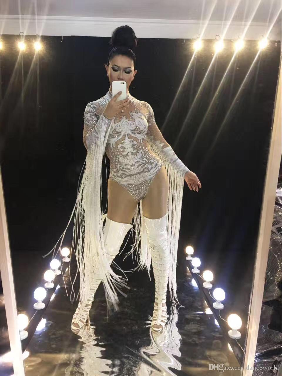 Nude Sexy Tassel Bodysuit Cosplay White Costume Rhinestones Outfit Performance Women's Stage Clothing Show Party Dance Wear