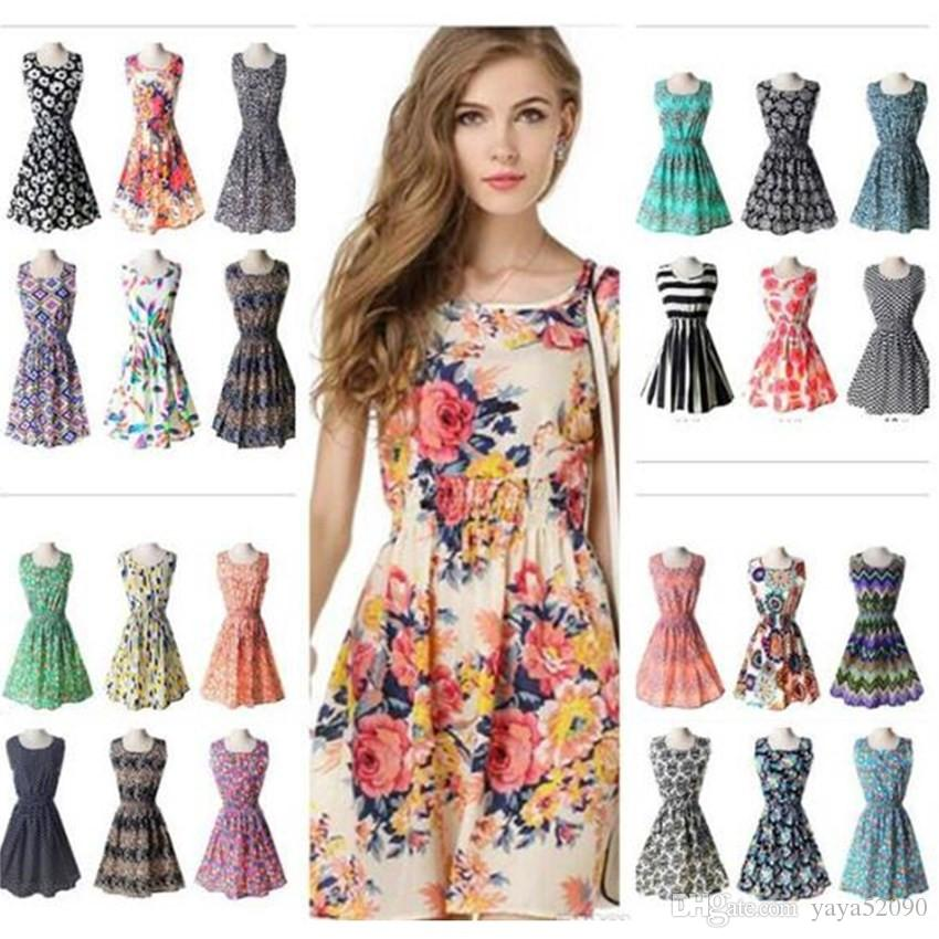 a16840c4f02d 2019 2018 Prom 19 Designs Women Casual Flower Dresses Cheap Dress Fashion  Sleeveless Summer Fashion Casual Dresses For Womens Plus Size XL From  Yaya52090