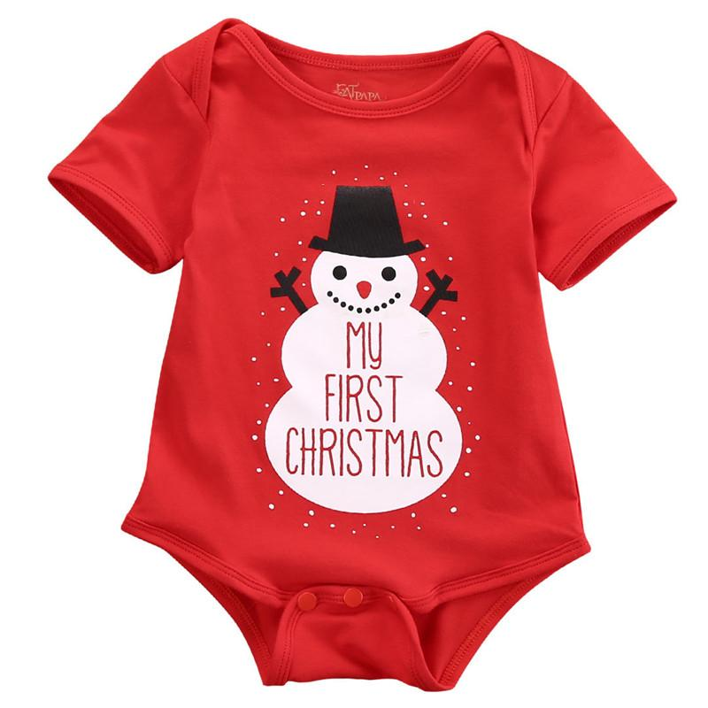 583221c9440 2019 2019 Fashion Lovely Newborn Baby Kids Girls Boys Merry Christmas  Romper Santa Claus Snowmen Print Jumpsuit Outfit Costume From Heathera
