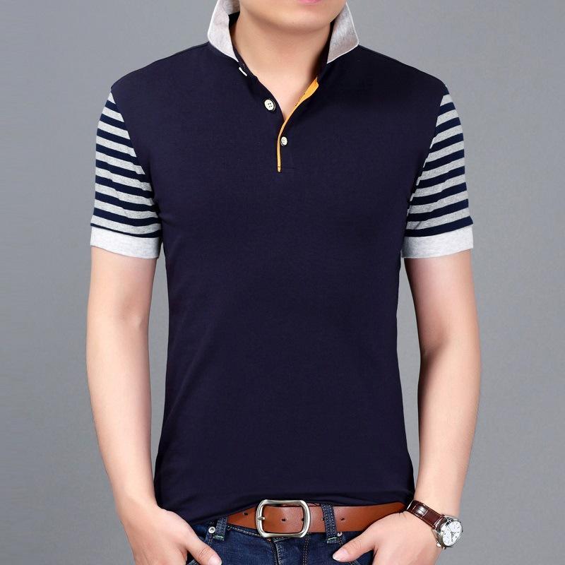 5eccb6108 TFETTERS Summer New Fashion Brand Clothing Tshirt Men Short Stripe Sleeve  Patchwork Design Turn Down Collar Men Clothing Cool Tees Online Shirt On T  Shirt ...