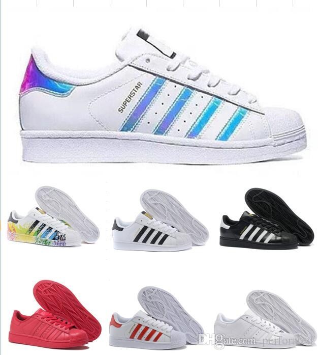 online store 82f21 6cda5 2019 2018 Originals Superstar Stan Smith Men Women All White Black Red  Green Super Star Stansmith Casual Shoes Top Quality Eur 36 44 From  Perforated, ...