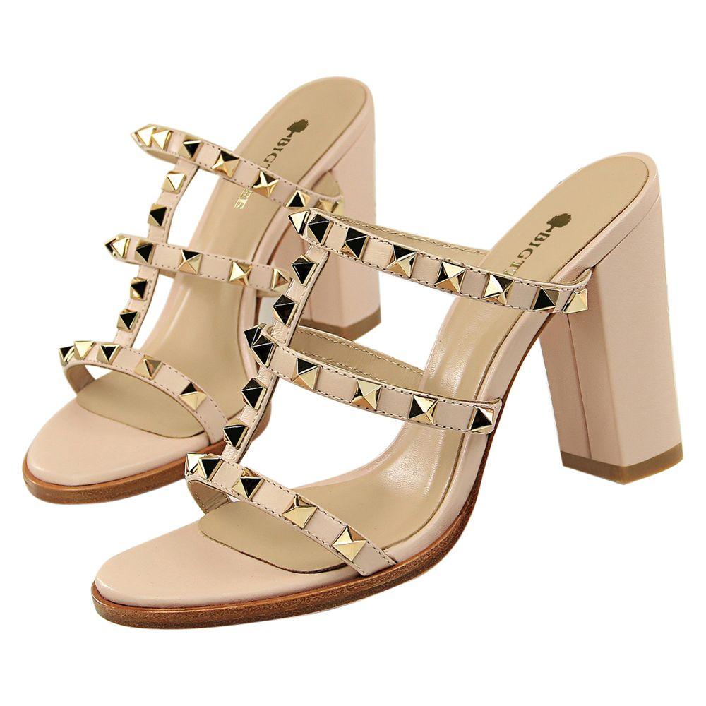 db3be93b7431 Sexy Rivets Strap Sandals Women Heels Pumps Open Toe High Heels ...