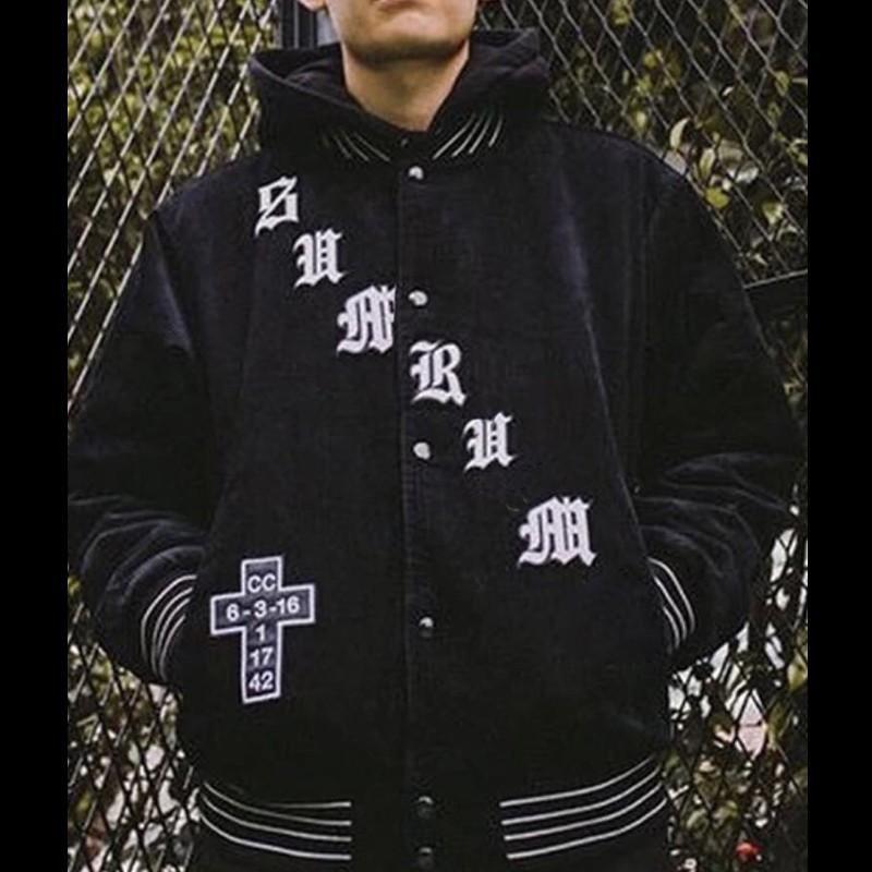 Großhandel 18FW Box Logo Alte Englische Cord Uni Jacke Jacke Lose  Beiläufige Baseballuniform Street Coat Männer Frauen Jacke Oberbekleidung  HFYMJK111 Von ... 1ef64065ec