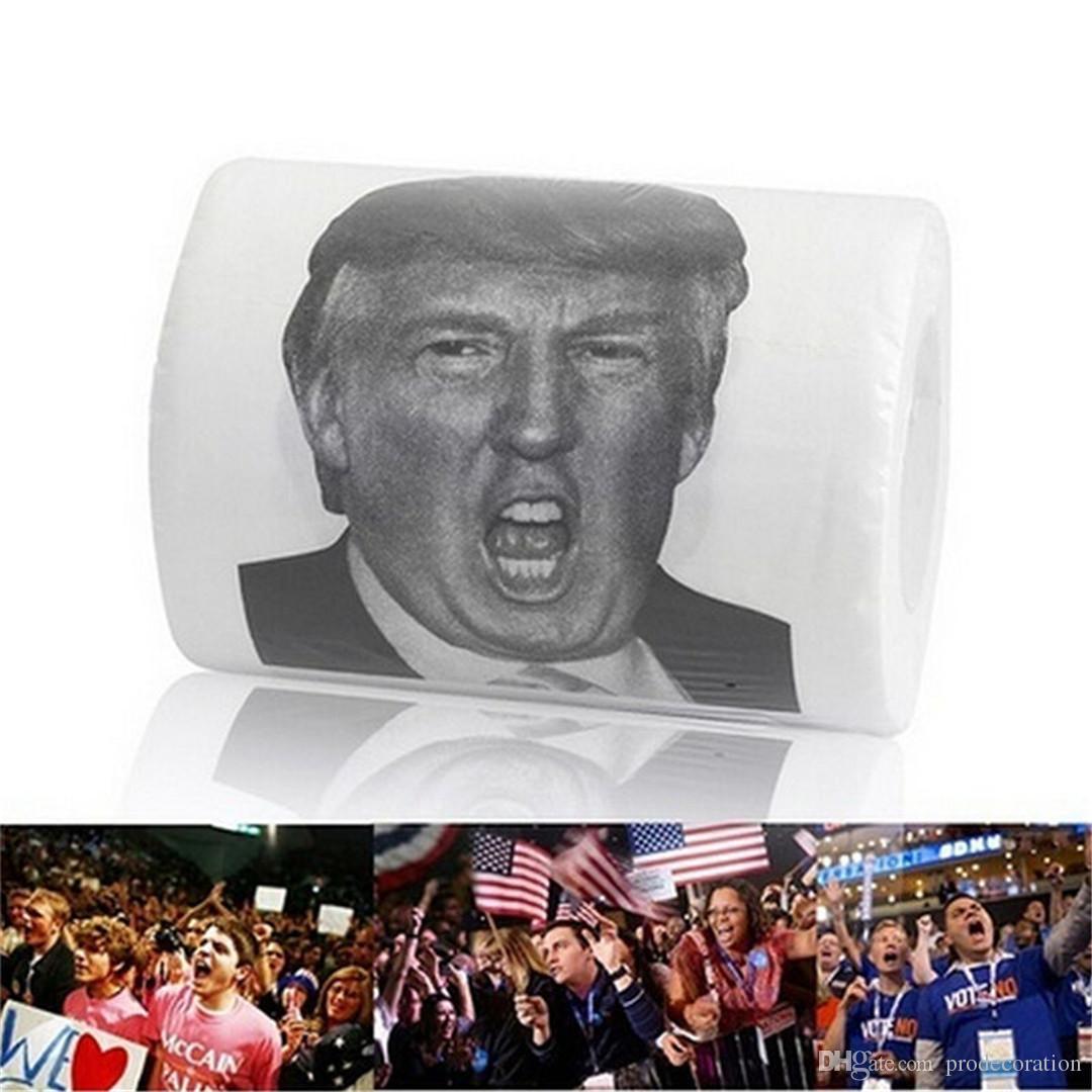 Neue kreative Donald Trump Humor Toilettenpapier Neuheit lustige Gag Geschenk Dump mit Trump Servietten Geschenke lustige Dekorationen
