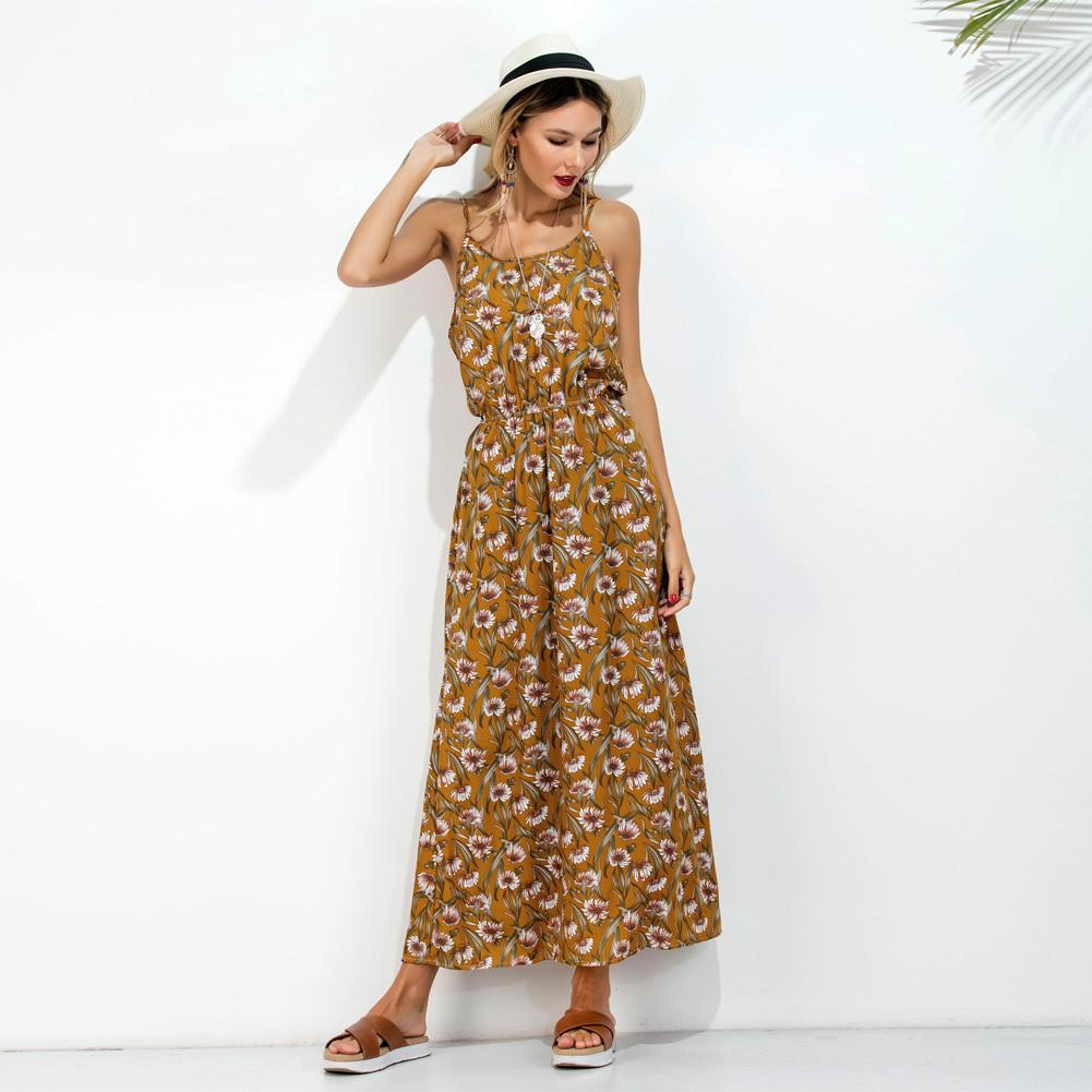 d58c3b9d43cc Long Slip Summer Dress 2019 Floral Print Spaghetti Strap Backless Tunic  Dress Women Sleeveless Casual Beachwear Maxi Sundress Designer Evening Dresses  Short ...