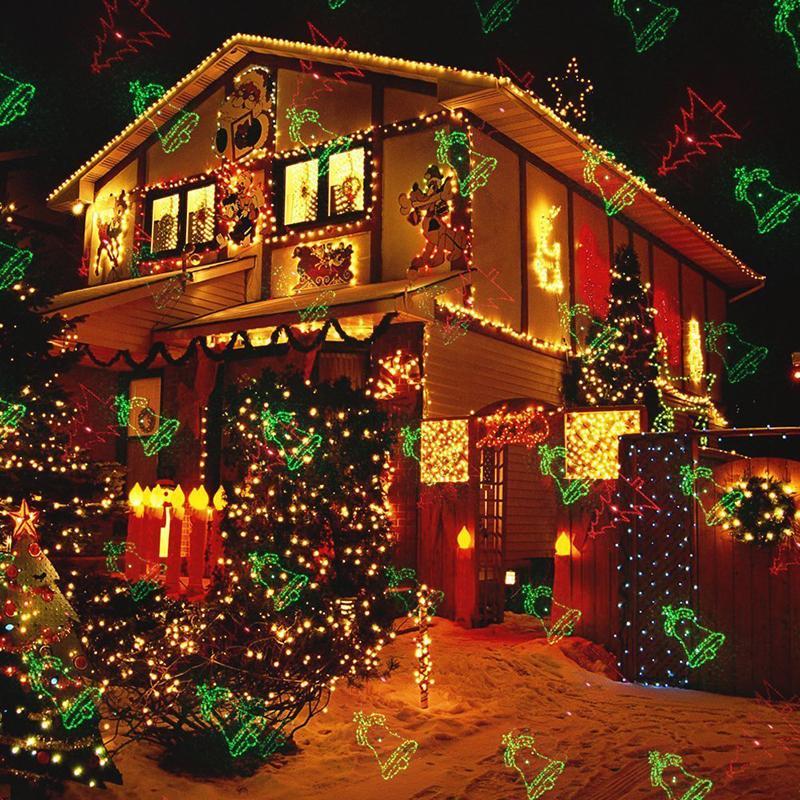 fc5b1e1614e Compre Luces Láser De Navidad Para Exteriores Proyector Motion Snowflake    Jingling Bell   Árbol De Navidad   Papá Noel   RG Estrellas Con Control  Remoto De ...