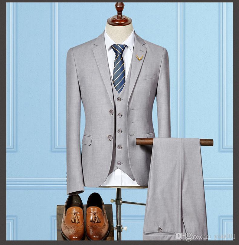 Custom Made Groom Tuxedos Light Grey Groomsmen Custom Made Side Vent Best Man Suit Wedding/Men Suits Bridegroom Jacket+Vest+Pants