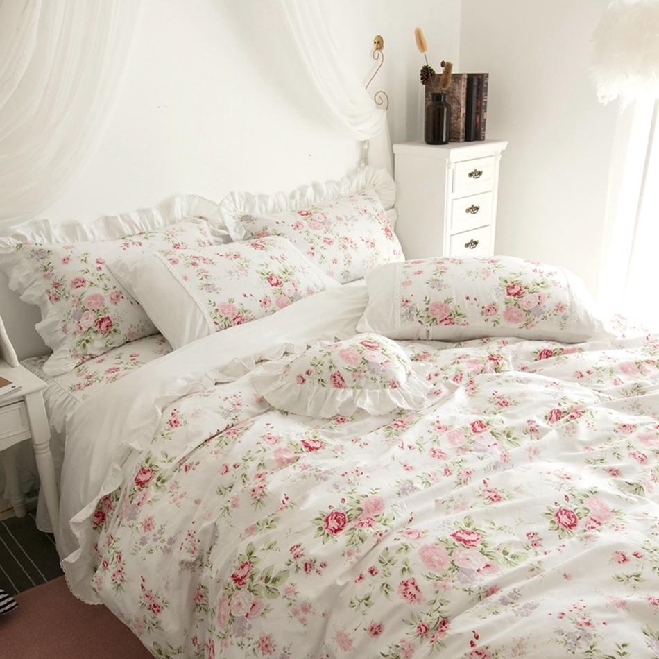 Girls Duvet Bedding Bedspread Ruffle Floral Bedding Luxury Bed Cover