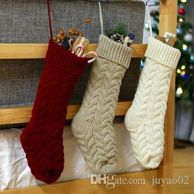 new christmas decorations knitted wool socks hanging gift bag twist leaves flower large 46cm candy christmas stockings kids christmas toys best christmas