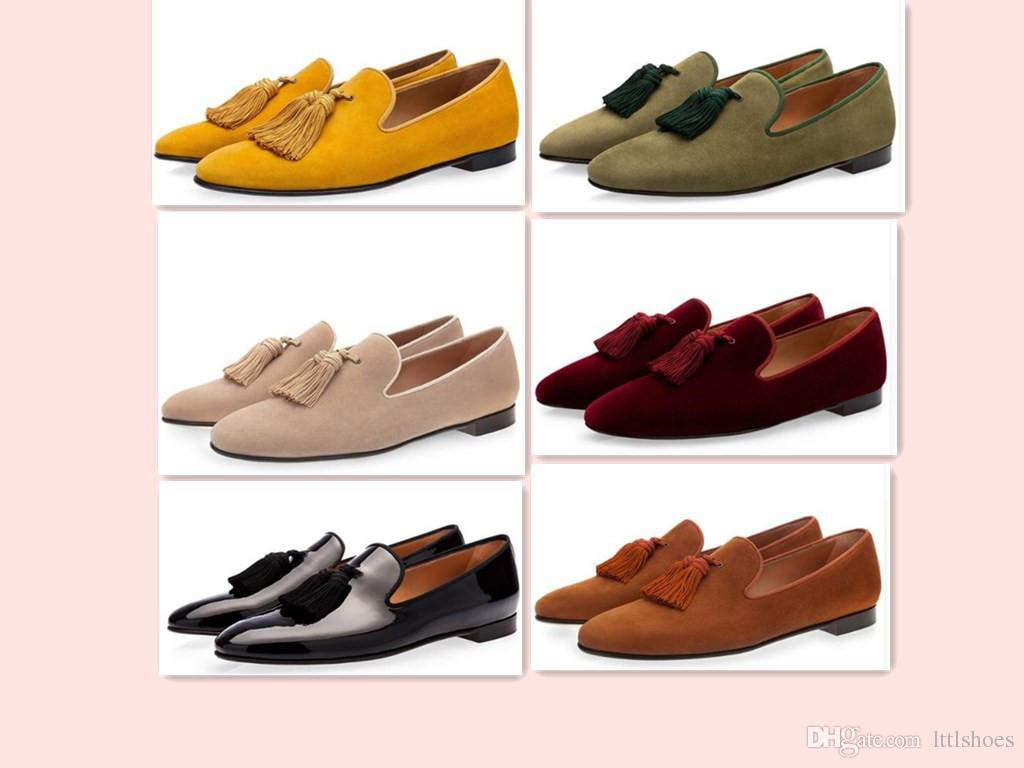 08fd69a173f Luxury Suede Slippers Men Tassel Loafers Shoes Velour Smoking Slip On Men S  Flats Party Wedding Shoes Mens Dress Shoes Designer Shoes White Shoes From  ...